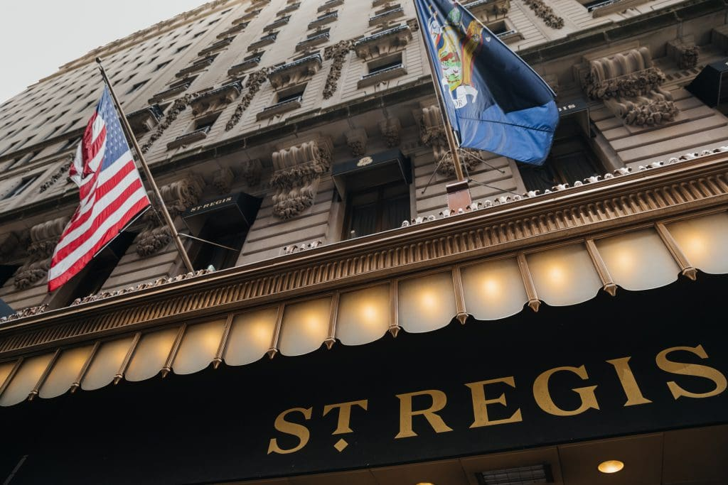 Outside at The St. Regis NYC facing the main entrance in New York