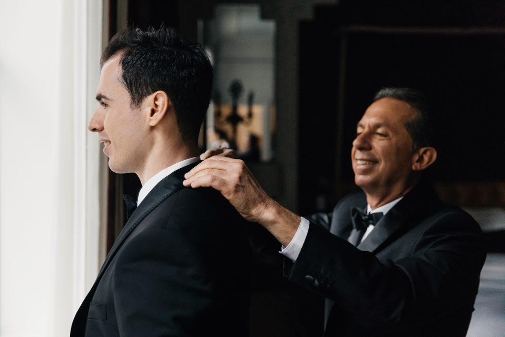 Groom portrait session on his wedding day at the St. Regis New York