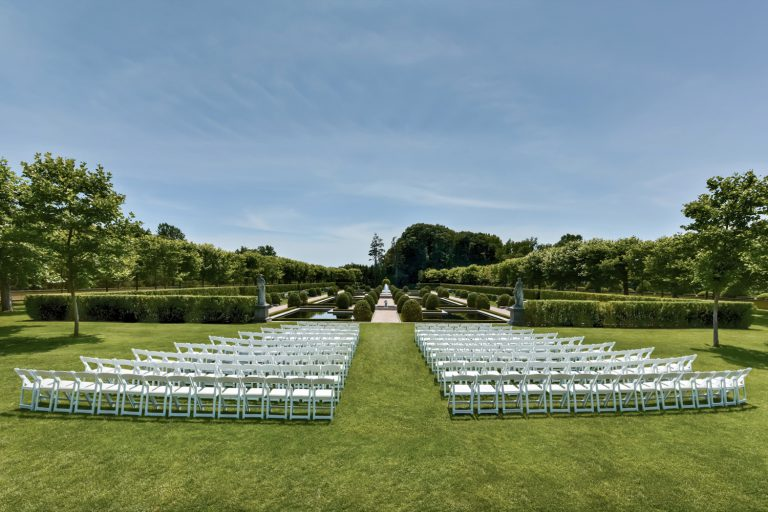 Wedding ceremony setting at Oheka Castle