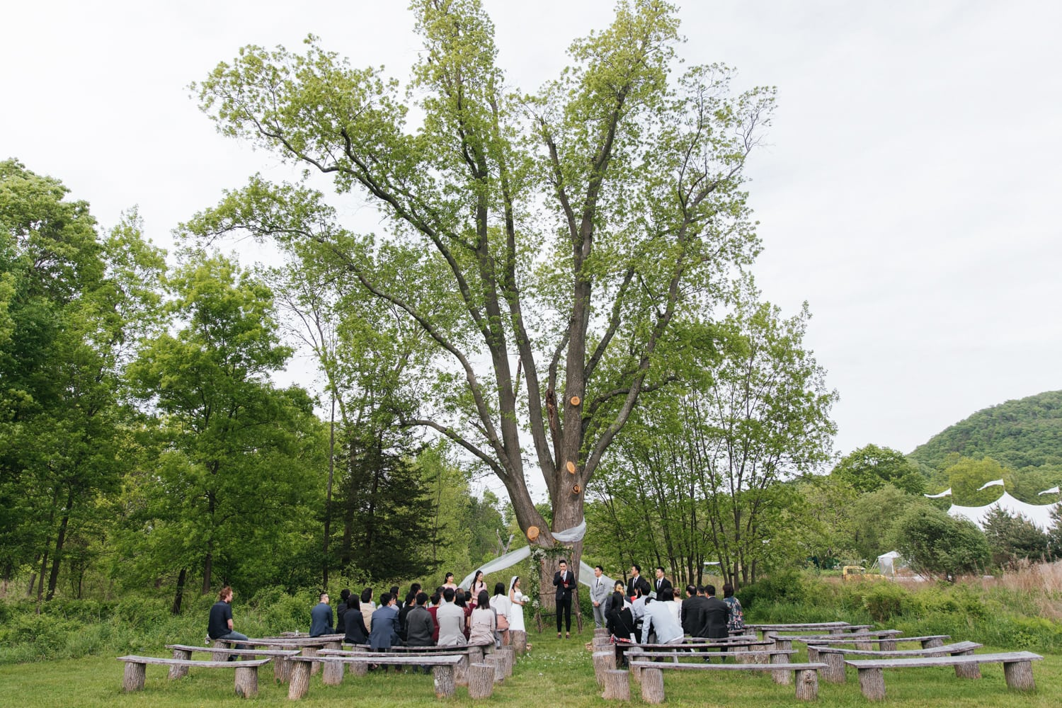 Wedding ceremony at Blooming Hill Farm