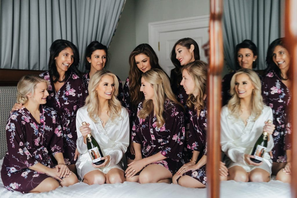 Bride and her bridesmaids during Getting Ready