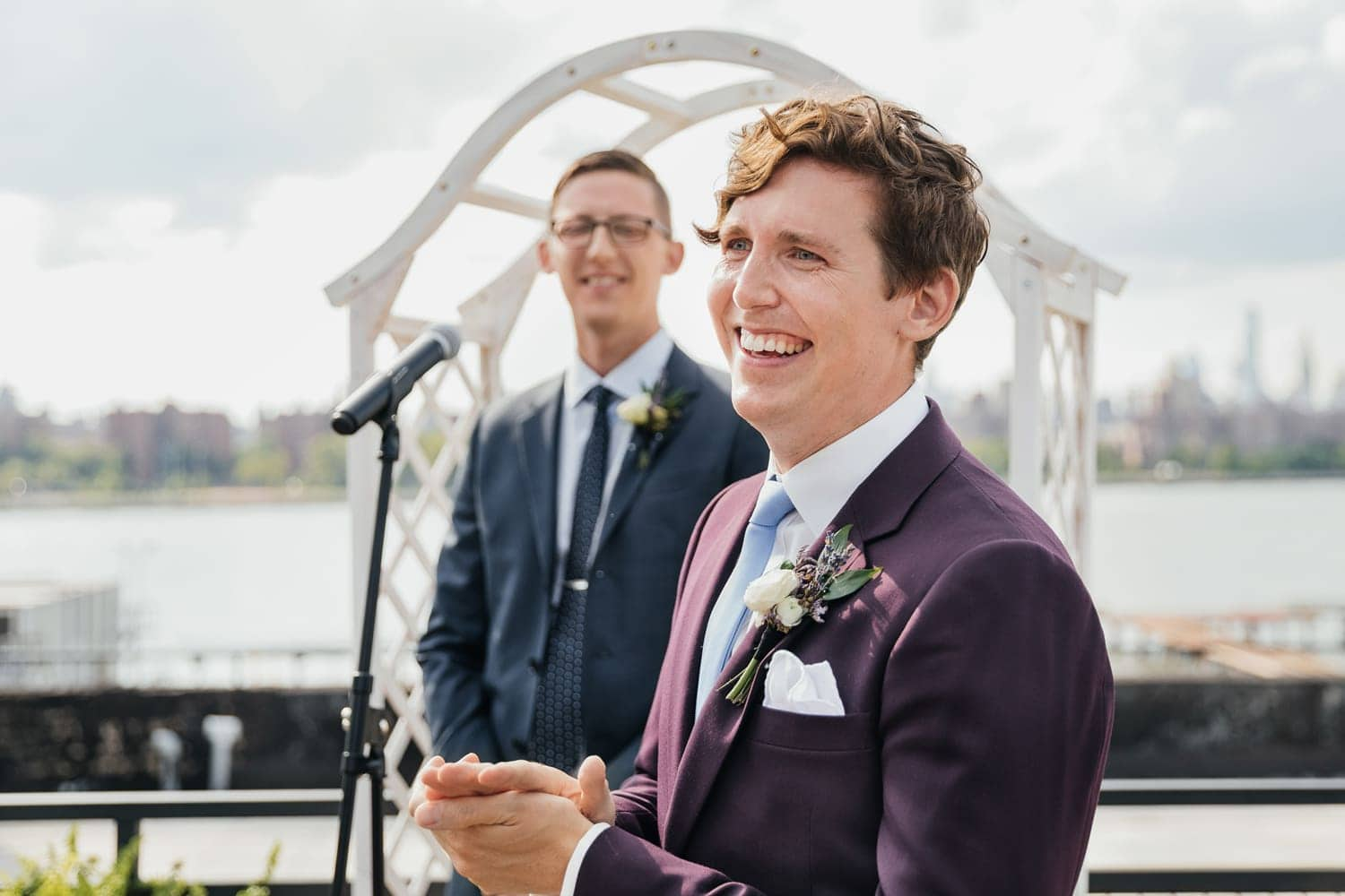Groom's reaction when he sees his bride at the ceremony