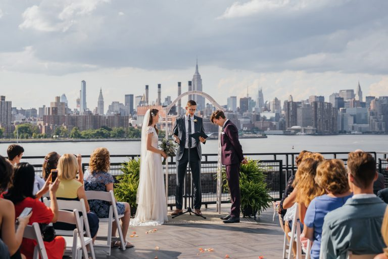 Outdoor wedding ceremony at the W Loft, Brooklyn