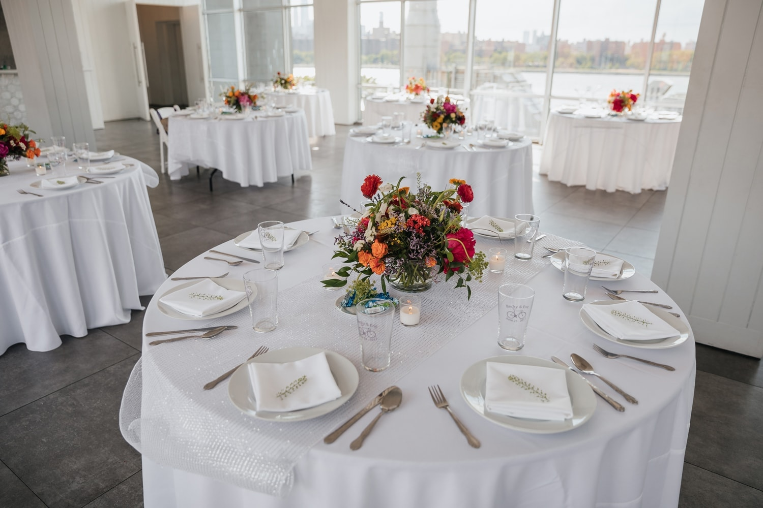 Table Setting at a Wedding Reception at the W Loft