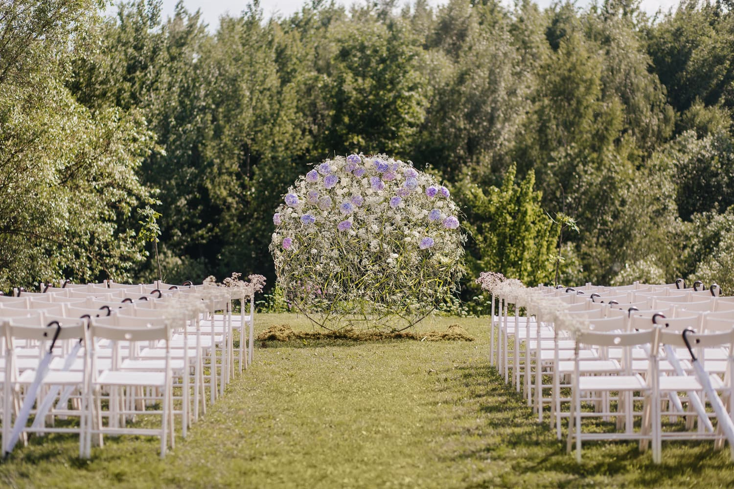 Outdoor wedding ceremony setting at the wedding venue in NJ
