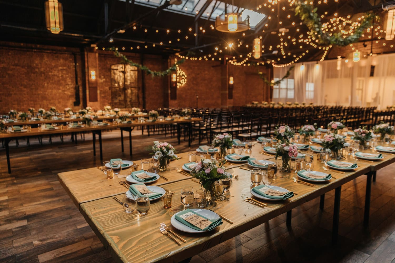 Wedding reception setting at 26 Bridge in Brooklyn, New York