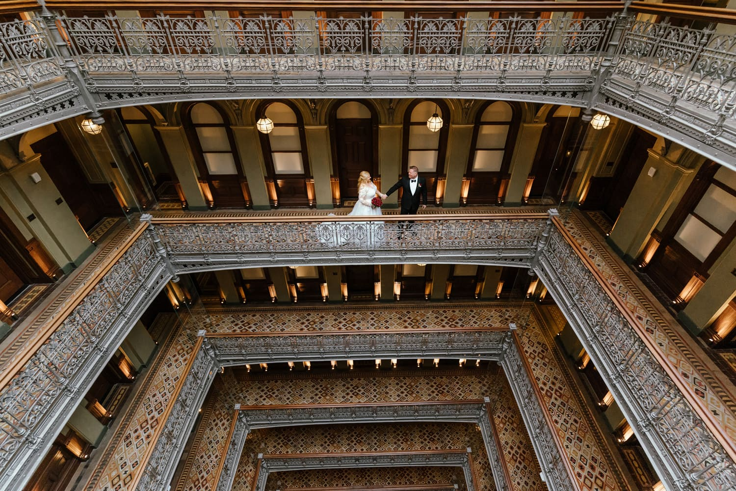 Bride & Groom in Historic Atrium at the Beekman Hotel in NYC