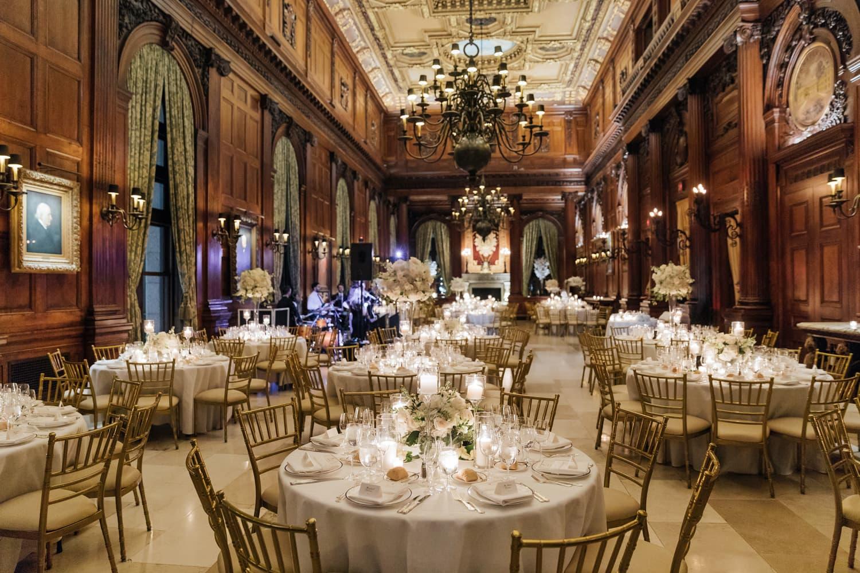 Wedding reception setting at University Club in NYC