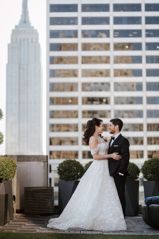 Bride and groom portraits at Sofitel Hotel NYC