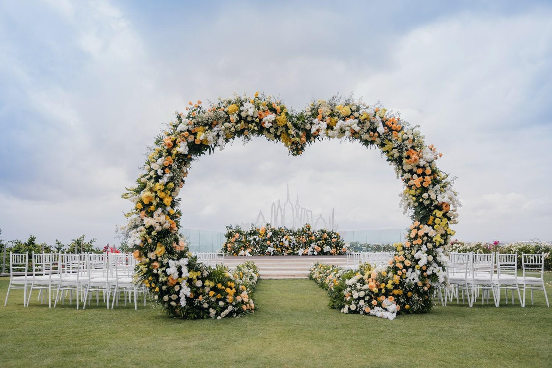 Wedding ceremony setting at Ayana Villa