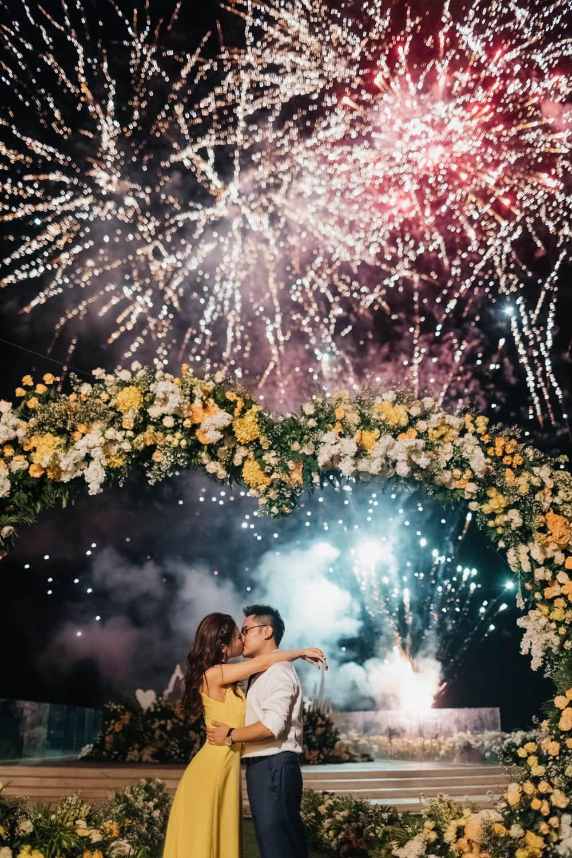 Ayana Villa wedding fireworks during reception